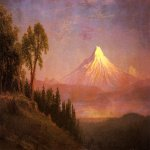 Albert Bierstadt (1830-1902)  Mount St. Helens, Columbia River, Oregon  Oil on canvas mounted on panel  18 x 32 1/4 inches (45.72 x 81.92 cm)  Public collection